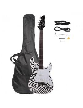 Glarry GST-E Electric Guitar Bag Shoulder Strap Pick Whammy Bar Cord Wrench Tool Zebra-stripe
