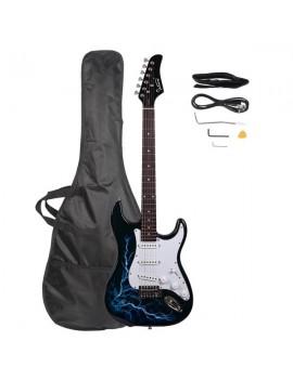 Glarry GST-E Electric Guitar Bag Shoulder Strap Pick Whammy Bar Cord Wrench Tool Black