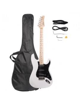 Glarry GST Stylish Electric Guitar Kit with Black Pickguard White