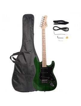 Glarry GST Stylish Electric Guitar Kit with Black Pickguard Green