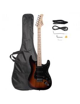 Glarry GST Stylish Electric Guitar Kit with Black Pickguard Sunset Color