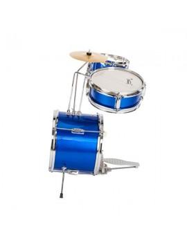 "Glarry 13""x8"" 3-Pieces Junior Kids Child Drum Set Kit Pedal Drum Stick Wrench Drum Stool Blue"