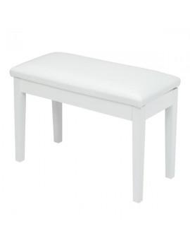 "Bonnlo 29"" Flat Leather Cushion Double Persons Straight Leg Piano Stool White"