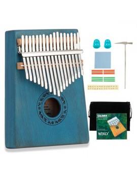 17 Keys Kalimba Thumb Piano Mahogany wood for Kids Adult Beginners Blue