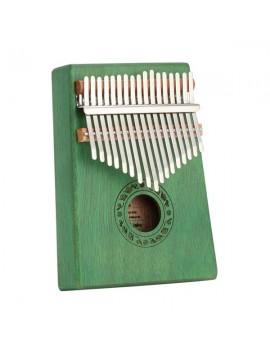 17 Keys Kalimba Thumb Piano Mahogany wood for Kids Adult Beginners Green