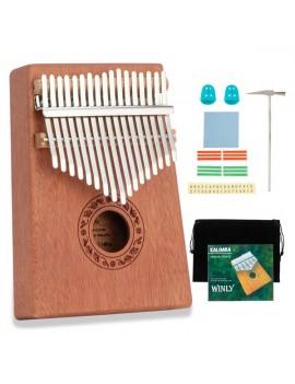 17 Keys Kalimba Thumb Piano Mahogany wood for Kids Adult Beginners Natural