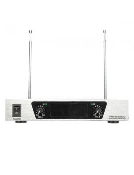 WM-09V VHF Wireless Microphone System Dual Handheld 2 x Mic Cordless Receiver Silver Black