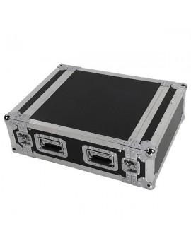 """19"""" 4U Single Layer Double Door DJ Equipment Cabinet Black & Silver"""