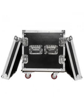 """19"""" 10U Single Layer Double Door DJ Equipment Cabinet Black & Silver"""